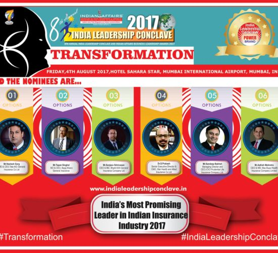 Neelesh Garg of Tata AIG General,Tapan Singhelof Bajaj Allianz,Sanjeev Srinivasan of Bharti AXA General Insurance, Dr.S.Prakash of Star Health and Allied Insurance,Sandeep Bakhshi of ICICI Prudential Life Insurance & Ashish Mehrotra of Max Bupa Health Insurance are in race forIndia's Most Promising Leader in Indian Insurance Industry 2017Award