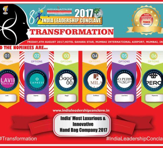 Lavie,Caprese,Baggit,Da Milano,Lino Perros,Peperones are in race for India' Most Luxurious & Innovative Hand Bag Company 2017