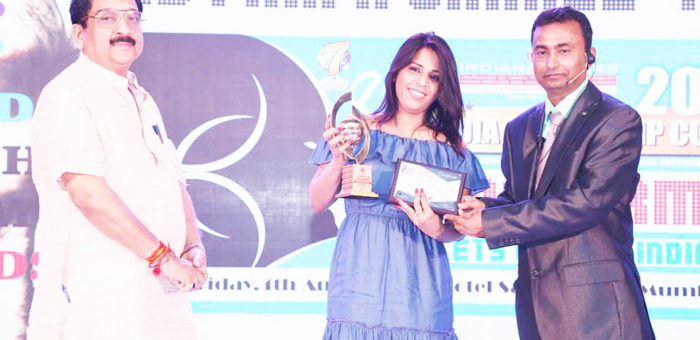 Sadiya Naseem of Glam Studios, India's first affordable beauty salon chain awarded Indian Affairs Most Promising & Innovative Woman Leader in Spa & Wellness 2017