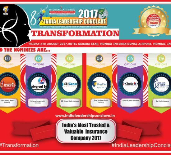 ICICI Lombard, Universal Sompo Health Insurance, SBI General Health Insurance, Royal Sundaram Health Insurance, Chola MS Health Insurance & Star Health Insurance are in final six nominees at India Leadership Conclave's 2017 Edition for India's Most Trusted & Valuable Insurance Company 2017 Nominees