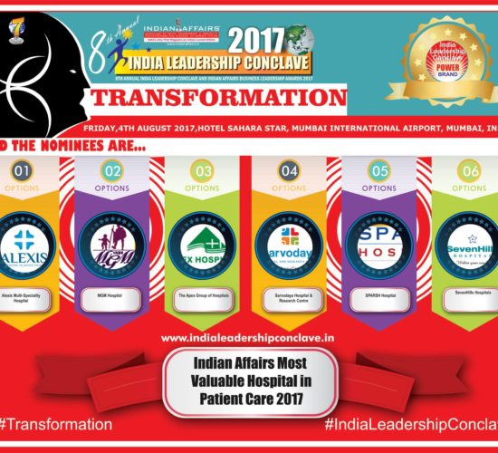 Alexis Multi-Speciality Hospital,MGM Hospitals,The Apex Group of Hospitals,Sarvodaya Hospital & Research Centre,SPARSH Hospital,SevenHills Hospitals are in race for the prestigious Indian Affairs Most Valuable Hospital in Patient Care 2017 Award