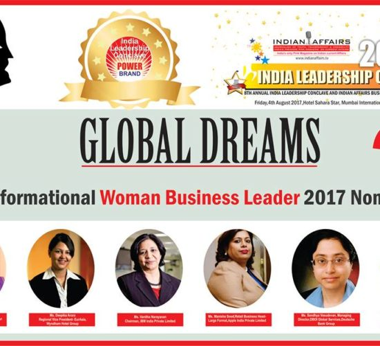"""Grace Pinto of Ryan International Group, Deepika Arora of Wyndham Hotel Group,Vanitha Narayanan of IBM India,Manisha Sood of Apple India,Sandhya Vasudevan of Deutsche Bank Group & Mansi Madan Tripathy of Shell Lubricants India in tight competition for the coveted """"Transformational Woman Business Leader 2017"""" Award at Ilc Power Brand Awards"""